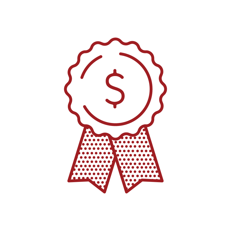 graphic of award with dollar sign