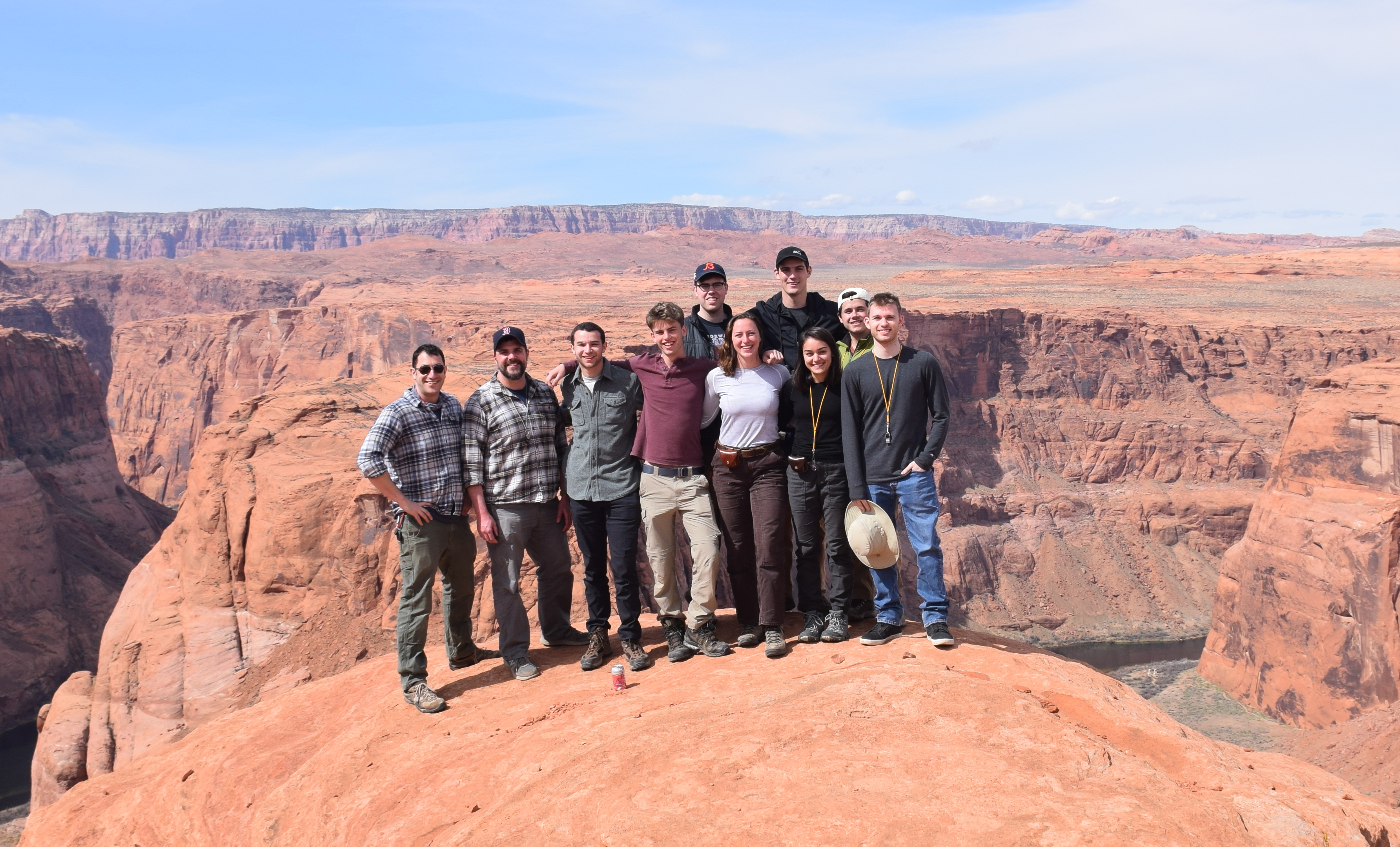 Group photo at Horseshoe Bend, Arizona, an incised meander into the Colorado Plateau. Photo credit: Phil Skemer