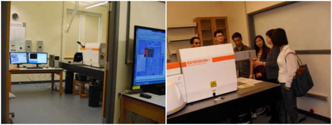 Left: Operating inner room and data processing outer room of Laser Raman imaging laboratory. Right: Open house event in March 7-8, 2012.