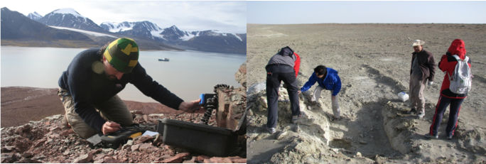 Left: Dr. Pablo Sobron brough WIR to  2011 AMASE expedition to Svalbard, Noway. Right: Dr. Wang, Dr. Sobron, and experts from CAGS during 2008 expedition to saline playa on Tibet Plateau