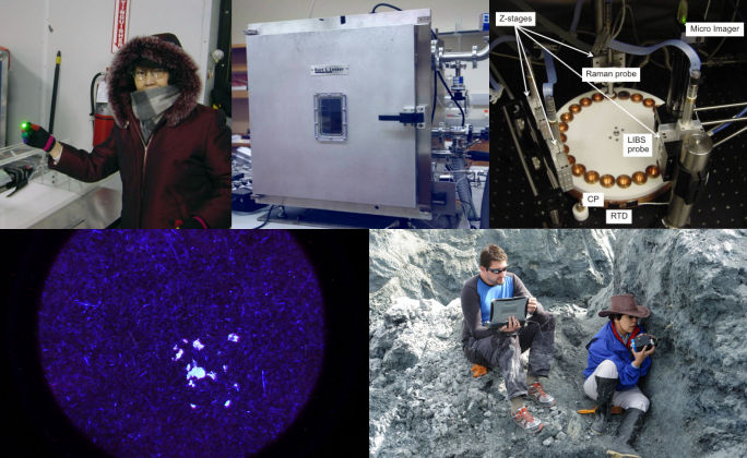 Upper left: MMRS field test at National Ice Core Lab (-24C). Upper right: Outside and inside looks of the Planetary Environment and Analysis Chamber, with internal Raman & LIBS probes and a MI to study the properties of samples under Mars atmospheric composition, pressure, and temperature. Lower left: A UV fluorescence image of Nocardiopsis alba spores obtained using WUSTL built Bio-UV-Fluorescent imager (BUF). Lower right: The field test of Phase-III of Water-IR (WIR), a hand-held NIR spectrometer, conducted by Dr. Wang and Dr. Sobron at a saline lake on Tibet Plateau.
