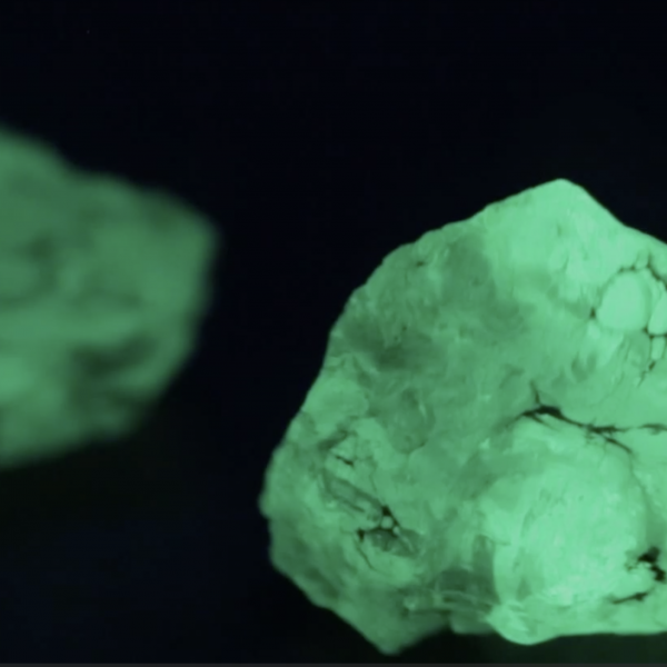 glowing green rocks