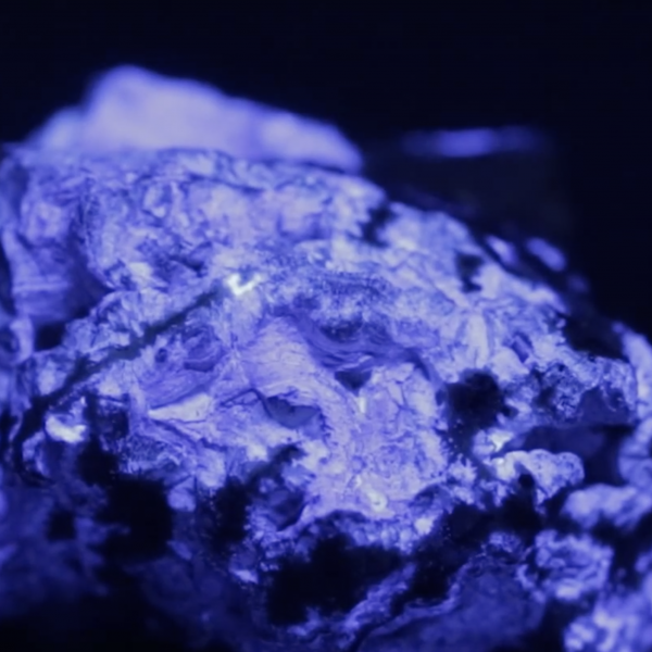 purple glowing rock
