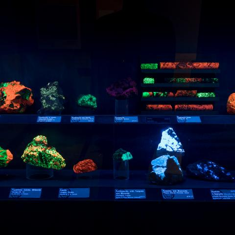 glowing rock display