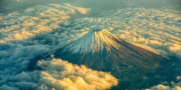 Fly over view of Mount Fuji. Photo by Leon He on Unsplash.